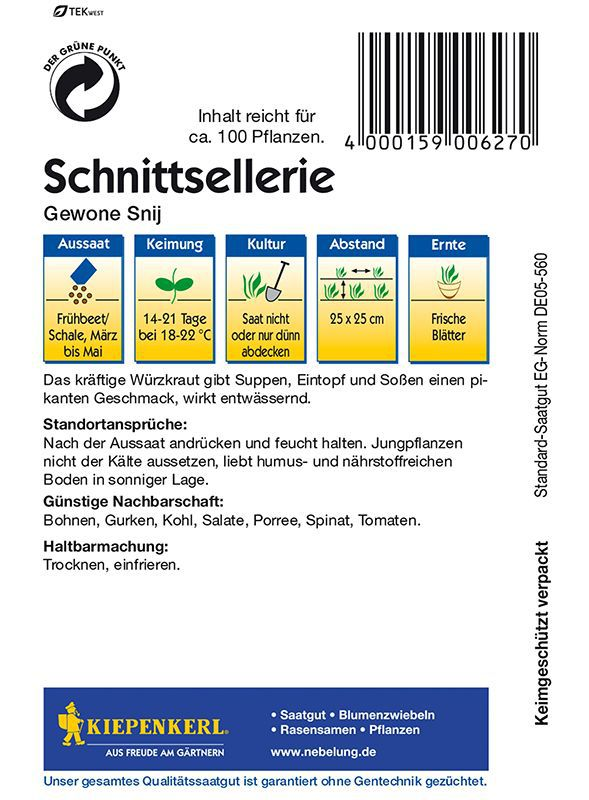 Etwas Neues genug Sellerie: Schnittsellerie, Apium graveolens var. secalinum: Lubera.de &JX_34